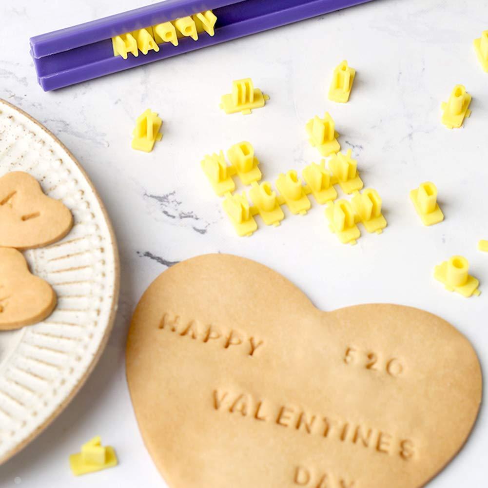 Alphabet Letter Number Biscuit Press Stamp Embosser Impress Set Cookie Cutter