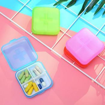 Nowy 1 szt 4 gniazdo pudełko na podróż tabletka pigułka apteczka dozownik organizuj przechowywanie przenośne tanie i dobre opinie Przypadki i rozgałęźniki pigułka PS PP Pill box