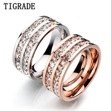 Tigrade Women Titanium Ring Rose Gold Silver Fashion Full Cubic Zirconia Jewelry Crystal Ring Female Party Cocktail Wedding Band(China)