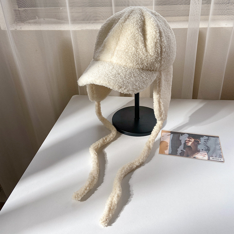 Ear Protection Lei Feng Hat For Women In Autumn And Winter Lamb Velvet Female Girls Cap Plush Hat With Earmuffs