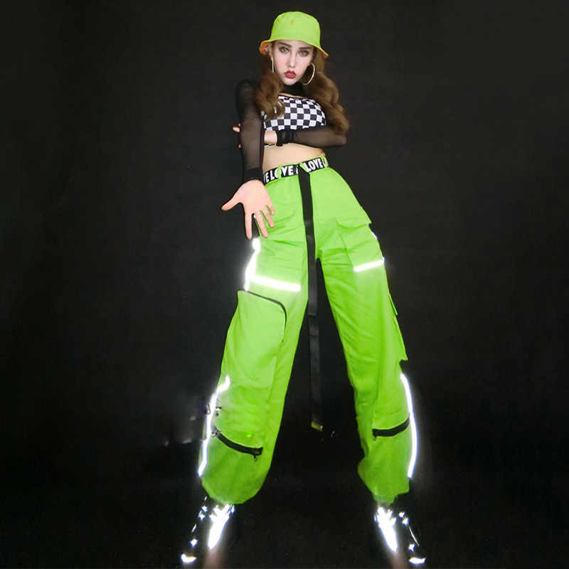 Nuevos trajes de Hip Hop para mujeres ropa de Jazz verde fluorescente pantalones reflectantes trajes de baile de calle ropa de actuación de escenario DNV12426