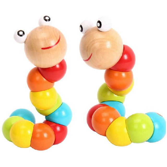 New New Worm Twist Puppet Cognition fun Educational Toys Changeable Shape Wooden Blocks Kids Colorful Caterpillar Baby Toy