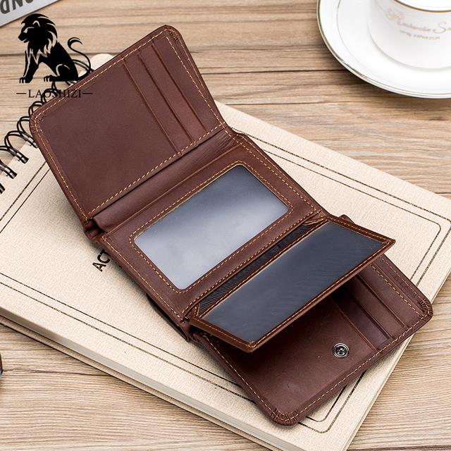 Laoshizi Vintage Brown Leather Wallet