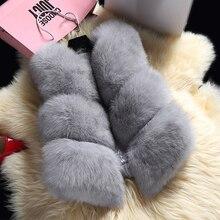 Горячая Распродажа, зимний женский толстый теплый жилет из искусственного лисьего меха, высокое качество, модное короткое меховое пальто с круглым вырезом для женщин, верхняя одежда PC038