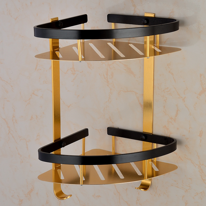 Hot Selling Alumimum Black And Golden Double Layer with Hook Tripod Elegant Black Bathroom Rack