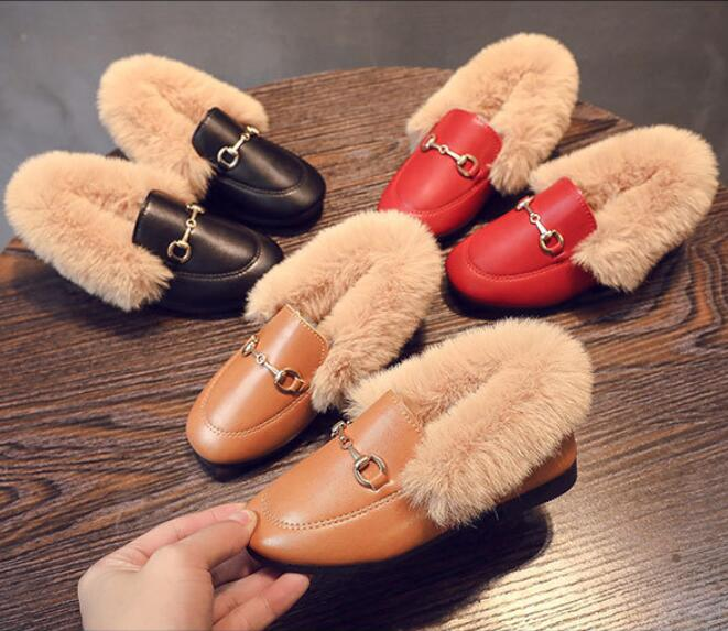 Fashion Child Casual Shoes Baby Girls Leather Warm Boots Kids Running Shoes Brand Sport Princess Snow Boots Child Shell Sneakers