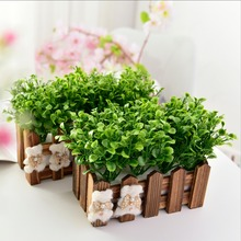 Peppermint Grass+Fence Plant Plastic Flower Fake Simulation Pot Set Decoration  Wedding Party