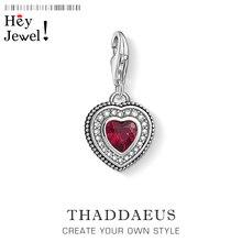 Corazón de plata de ley 925 con dije de piedra roja joyería de moda Vintage pulsera de cadena joyería de mujer regalo de amor eterno