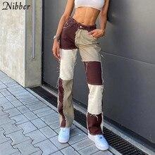 NIBBER-pantalones de cintura alta estilo Hip-hop punk para mujer, ropa informal de calle, pantalones de lápiz ajustados con retales de contraste para Otoño e Invierno