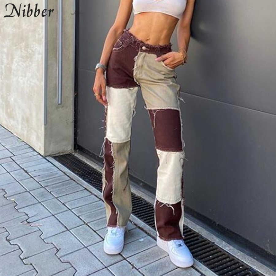 NIBBER Hip-hop style punk taille haute pantalon automne hiver rue tenue décontracté pantalon contraste patchwork femme serré crayon pantalon