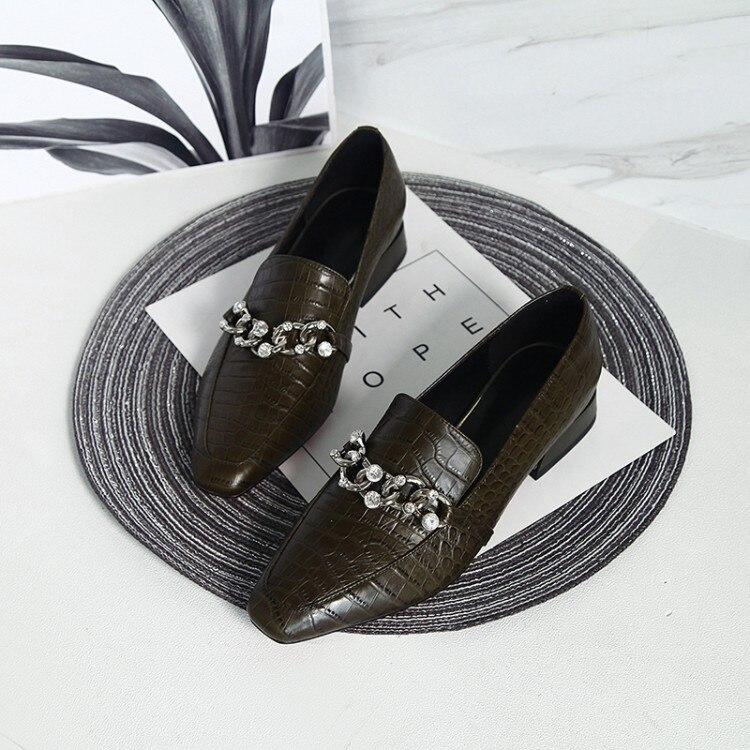 MLJUESE Lady Shoes Color-Chains Women Pumps Low-Heels Square-Toe Wedding Party Autumn