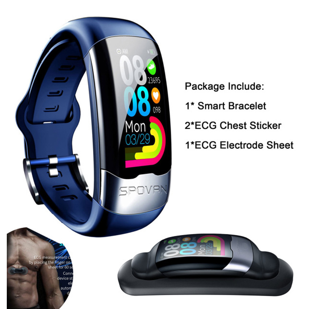 ECG PPG Smart Watch Heart Rate Monitor Blood Pressure Smartband Monitor Health Wristband 150mAh USB charging Replacement