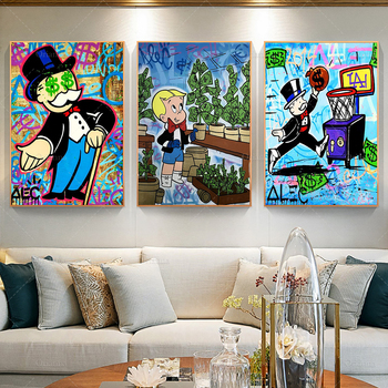 Canvas Poster Graffiti Modern Alec Monopoly Home Decor Print Richie Rich Painting Wall Money Tree Modular Picture For Bedroom image
