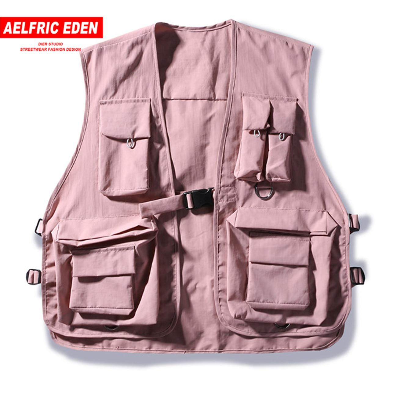 Aelfric Eden Hip Hop Cargo Vests Men 2020 Patchwork Tactical Overalls Fashion Sleeveless Multi Pockets Vintage Coats Streetwear