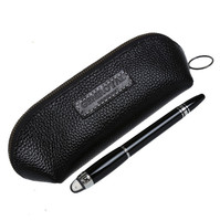 1pc New Black Genuine Leather Pencil Fountain Pen Storage Case Pens Pouch Bag Pouch Holder Durable 15.3*6.4cm