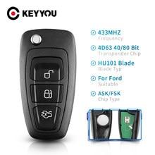 KEYYOU remoto/FSK 3 botones mando a distancia de coche para Ford Focus Mondeo C-Max S-Max Fiesta 2013 + HU101 434Mhz 4D63 Chip