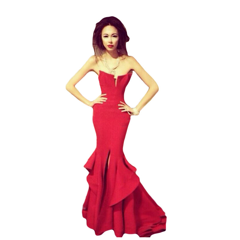 Cheap Vestido Elegant Mermaid Satin Prom Trumpet Gown 2018 Hot Charming Red Custom Ruffles Robe De Soiree Bridesmaid Dresses