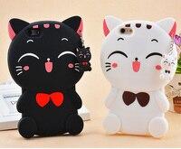 Funda de silicona suave con diseño de gato de la suerte 3D para móvil, carcasa para iPhone 5, 5s, 6, 7, 8 Plus, X, XR, XS, Max, 11 Pro Max, Samsung S9, S10 Plus