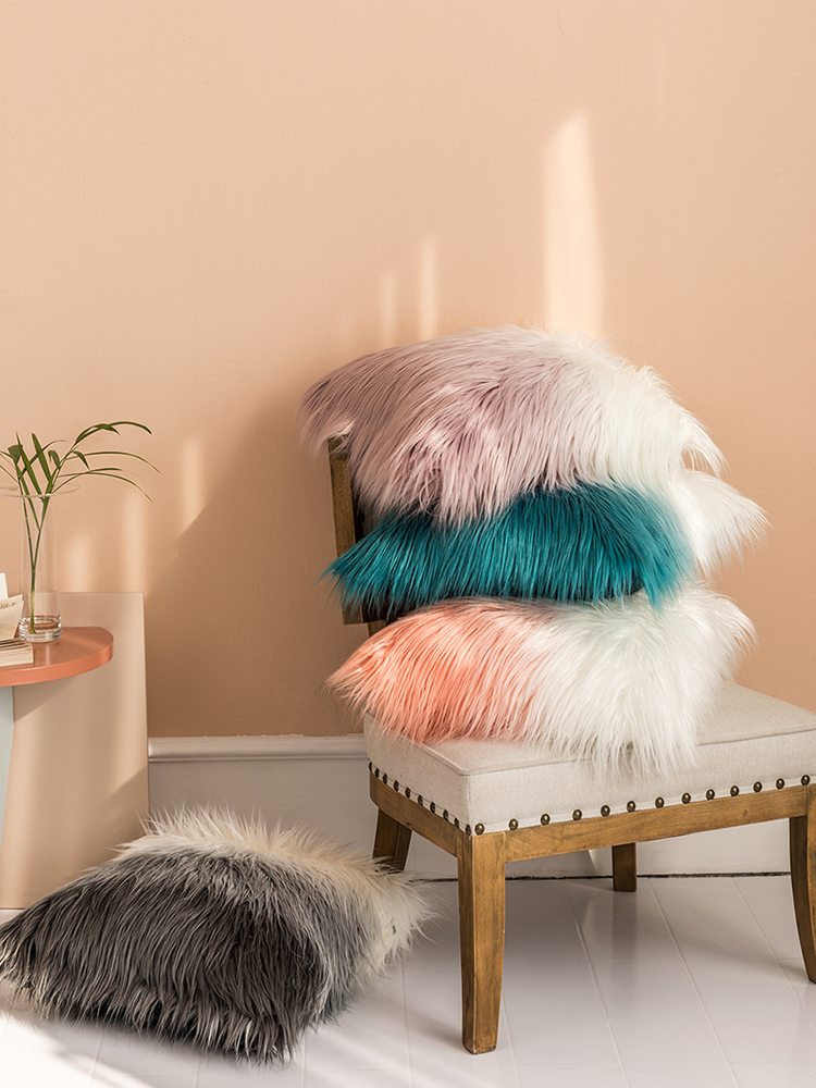 Faux Fur Home Decor Pillows in Shaded Colours