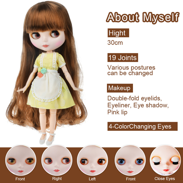 Blyth Doll Blyth Matte Face Frosted White Skin 1/6 BJD Ball Jointed Doll Hand Set Custom Dolls for Girl Gift for Doll Collection