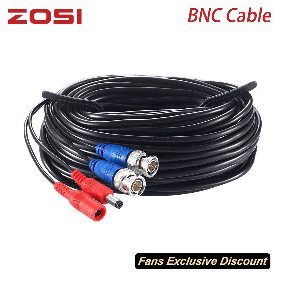 ZOSI 18.3M 60ft CCTV Cable BNC + DC Plug Cable For CCTV Camera DVR Security Black Surveillance System Accessories