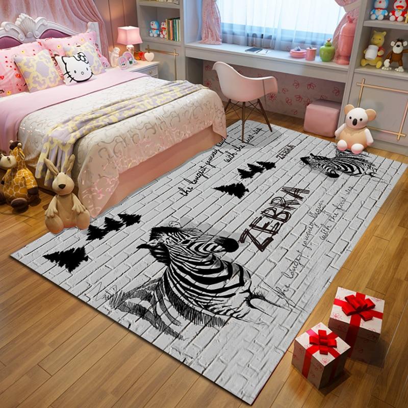 Cartoon cute guitar carpet floor mats home bedroom living room rugs for children's room crawling pink carpet grey parlor tapete