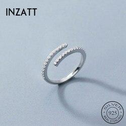 INZATT prawdziwe 925 ze srebra wysokiej próby z cyrkonią regulowany pierścień dla mody kobieta Party Fine Jewelry śliczne minimalistyczne akcesoria