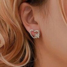 Fashion Hollow Heart Earrings Jewelry Aesthetic Korean Style Simple Love Cute Stud For Women Piercing Ear