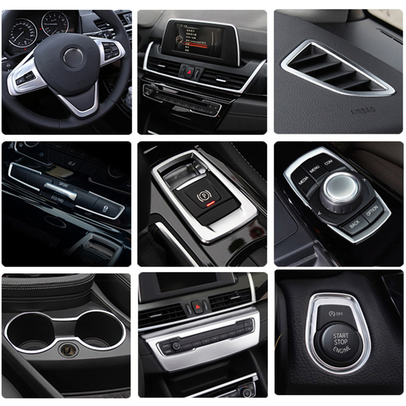 Car Styling Interior Buttons Panel Frame Decoration Covers Stickers Trim For BMW 2 Series Gran Tourer F45 F46 Auto Accessories
