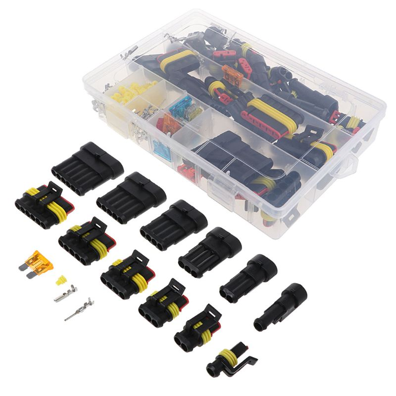 Super Sealed Waterproof Car Electrical Wire Connector Set 1 6 Pin Way Terminal & Blade Fuses|Connectors| |  - title=