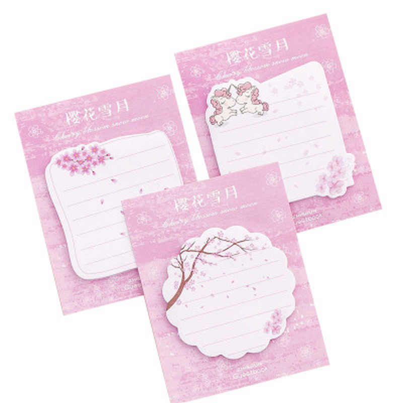 Unicorn Memo Pad Kawaii Stationery Cute Planner Stickers Student Memo Sheets Novelty Sticky Notes Stationery Office Supplies