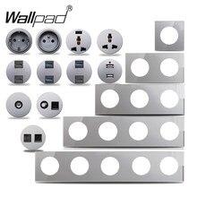 Wallpad – prise de courant murale L6, verre gris EU français, chargeur USB, données CAT6, HDMI TV, Modules de sortie universels, combinaison
