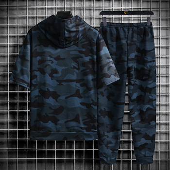 Spring Summer New Camouflage Men's Suit Sports Fitness Short Sleeve Hoodie+Trousers Men 2 Pieces Casual Outdoor Fashion Shorts 4