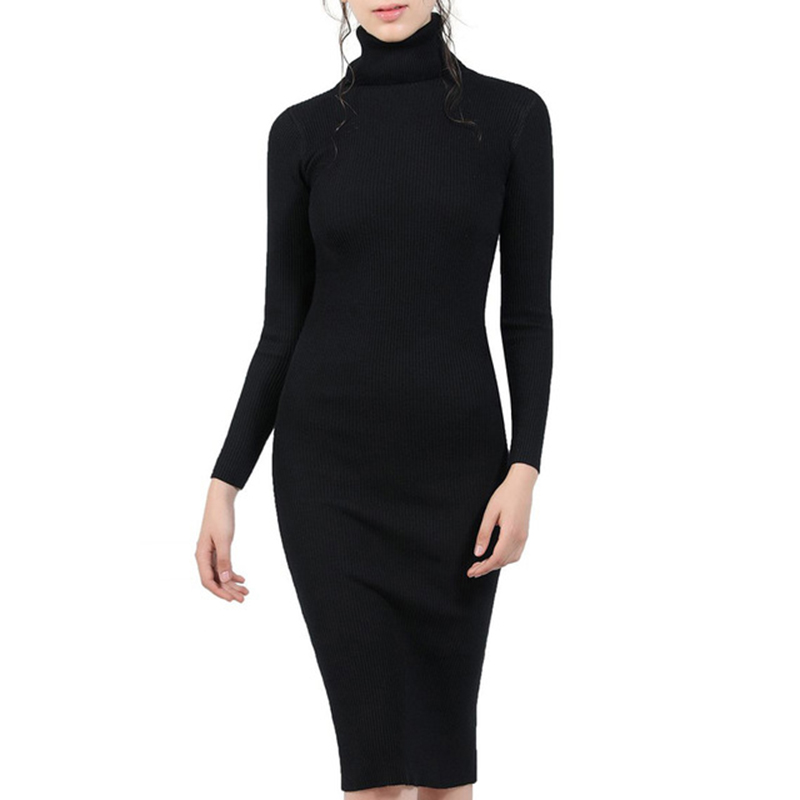 Women Autumn Winter Sweater Knitted Dresses Slim Elastic Turtleneck Long Sleeve Sexy Lady Bodycon Robe Dresses Vestidos