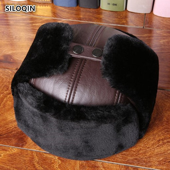SILOQIN Dad's Hat Genuine Leather Hat Middle-aged Elderly Man First Layer Cowhide Bomber Hats Thicken Velvet Earmuffs Winter Hat siloqin middle aged men s army military hats with ears autumn winter cowhide earmuffs flat cap leather caps genuine leather hat