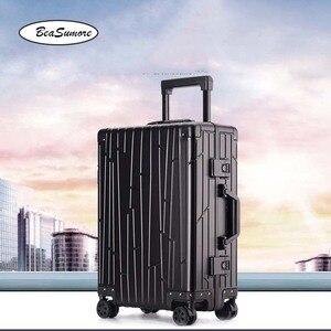 Image 1 - BeaSumore ใหม่ 100% อลูมิเนียมโลหะผสม Rolling กระเป๋าเดินทางคุณภาพสูงรถเข็นผู้ชาย 20 นิ้ว Cabin กระเป๋าเดินทาง