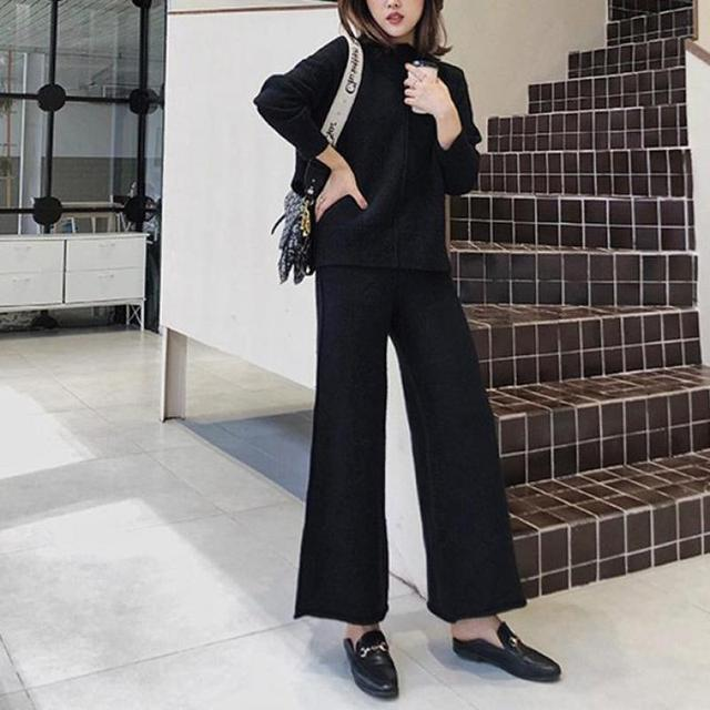 Genayooa Cashmere Two Piece Set Top And Pants 2020 Winter Korean Womens Tracksuit Set Korean Casual 2 Piece Sets Womens Outfits 6