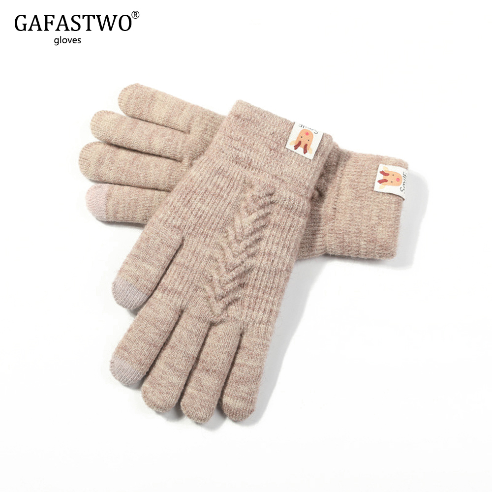 2019 New Winter Knit Gloves Girls Touch Screen Double Warm And Plush Thicken Outdoor Riding Gloves Cute Student Korean Edition