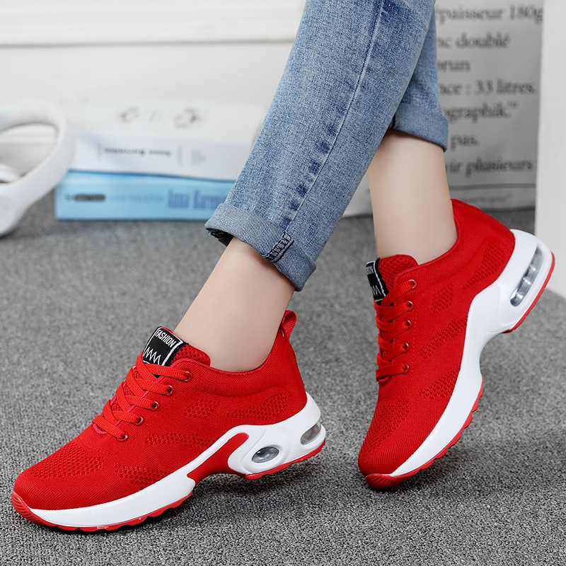 2020 Fashion Korean Black Red Women Sneakers Platform Breathable Mesh White Trainers Damping Casual Shoes Woman Tenis Feminino