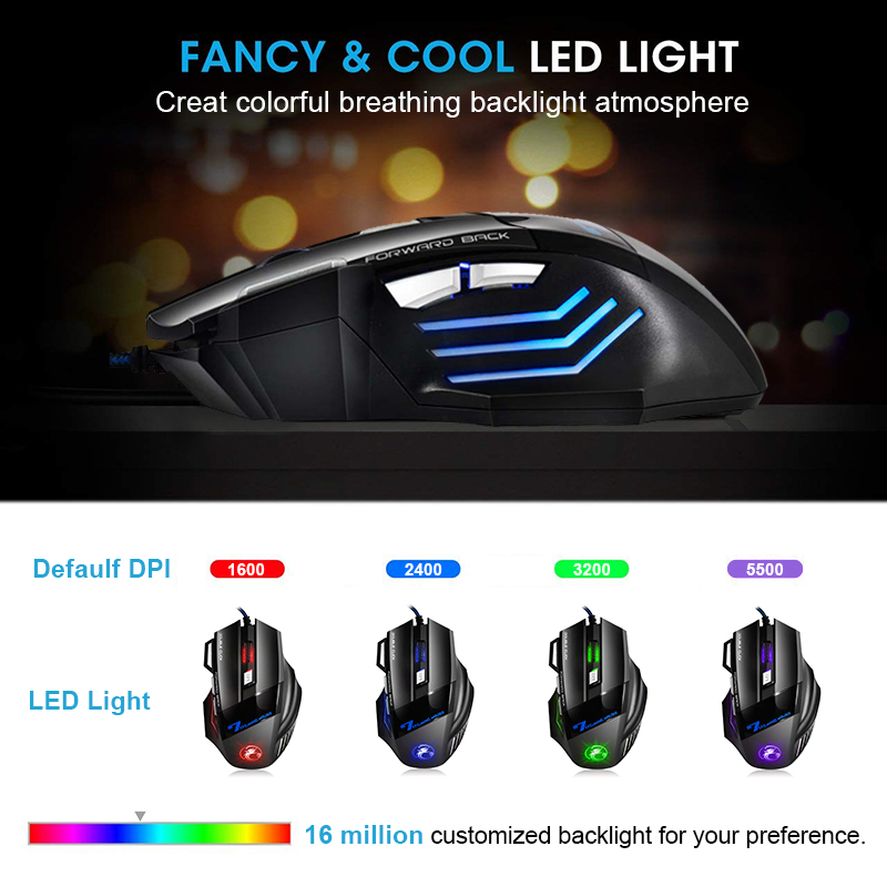 Ergonomic Wired Gaming Mouse 7 Button LED 5500 DPI USB Computer Mouse Gamer Mice X7 Silent Mause With Backlight For PC Laptop 3