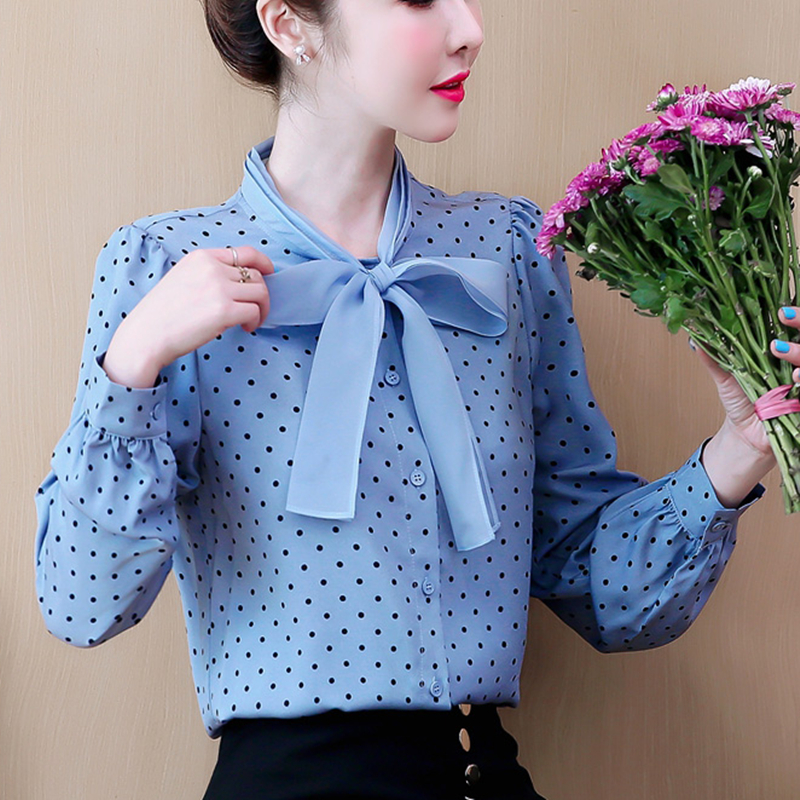 Fashion Autumn Women Blouses Korean Chiffon Blouse Shirt Elelgant Woman Dot Bow Shirts Plus Size