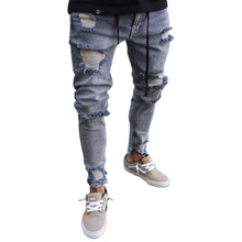 цены Male Denim Jeans Trousers Jeans For Mens Slim Fit Pants Men Ripped Pants New Skinny Jeans Men Biker Straight Hip Hop Frayed Hole