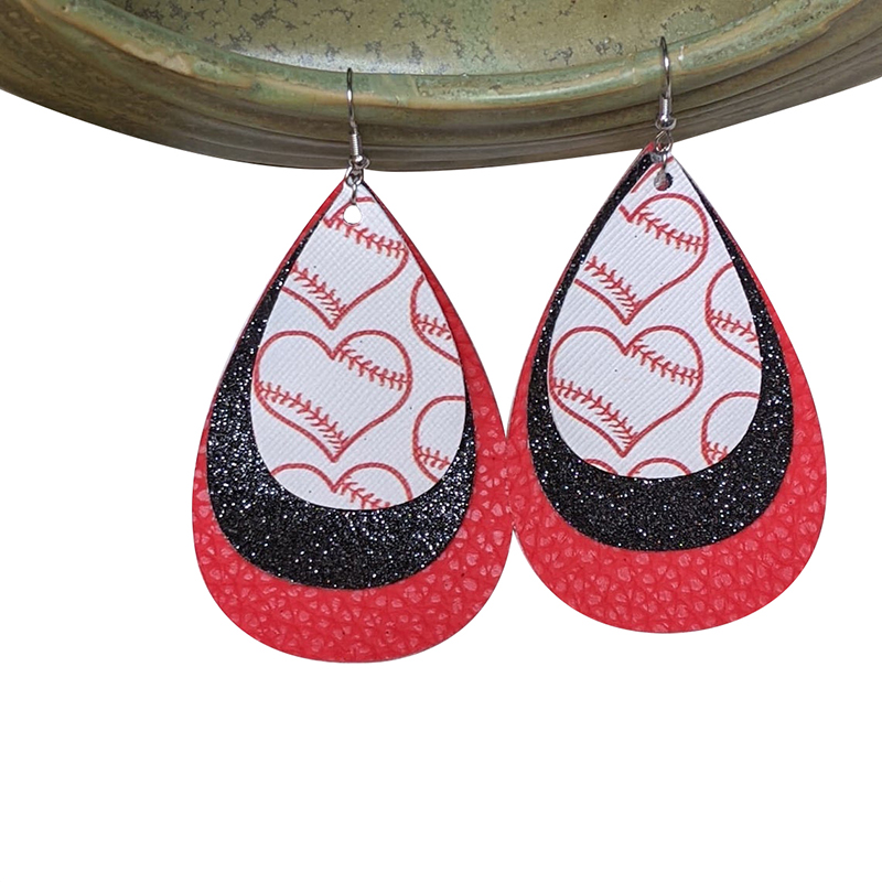 Tear Drop Layered Faux Leather Oakland A\u2019s Shimmer Earrings