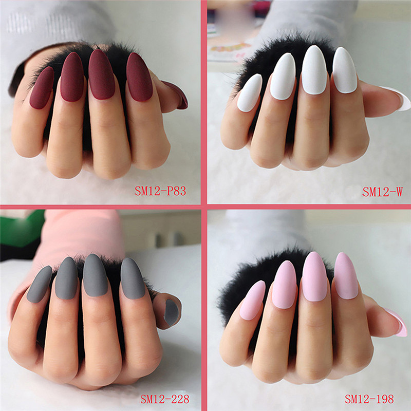 24pcs Fashion Style Acrylic Fake Nails Tips Dull Polish Matte Decorated For Fashion Nail Art Professional Salon DIY Glamorous