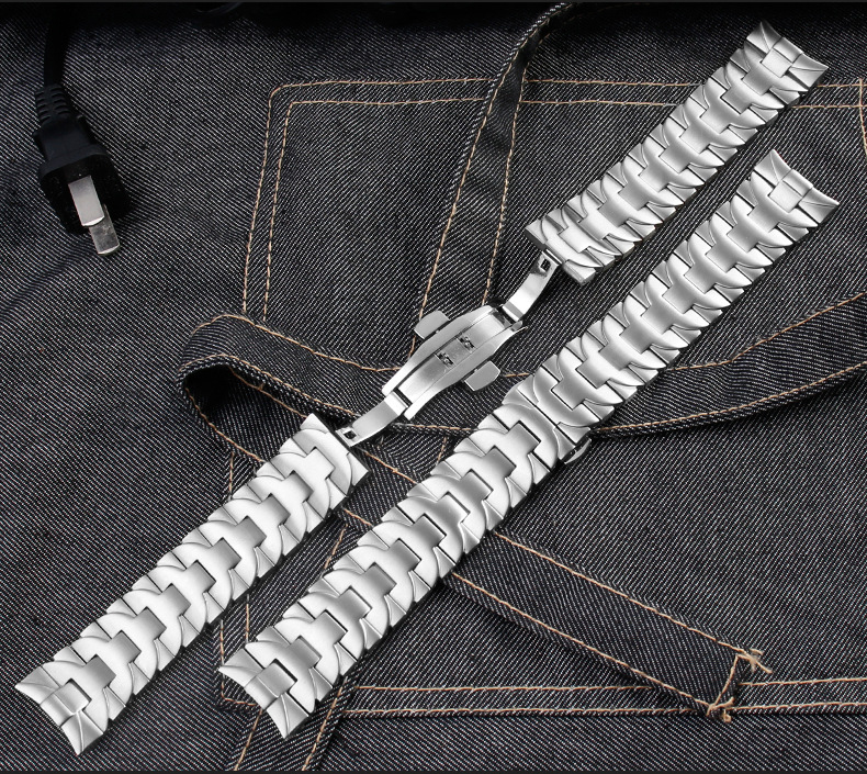 aço inoxidável cotovelo banda borboleta fecho relógio corrente 24mm