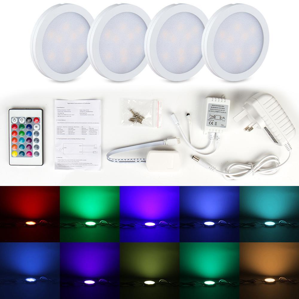 4pcs/set Cupboard RGB LED Under Cabinet Light Set UK Plug