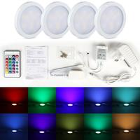 4pcs/set Cupboard RGB ​LED Under Cabinet Light Set UK Plug