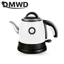 Long Spout Mouth Stainless Steel Heating Hot Water Boiler Electric Kettle Auto Power off Boiling Heater Drip Coffee Tea Pot 0.8L