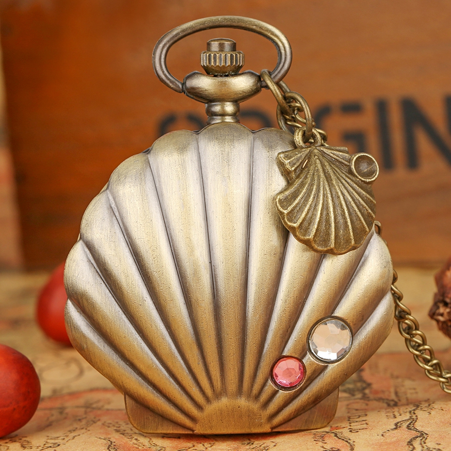 New Fashion Mermaid Shell Pocket Watch Unique Glossy Metal Scallop Case Crystal Pendant Necklace Superb Clock + Shell Accessory