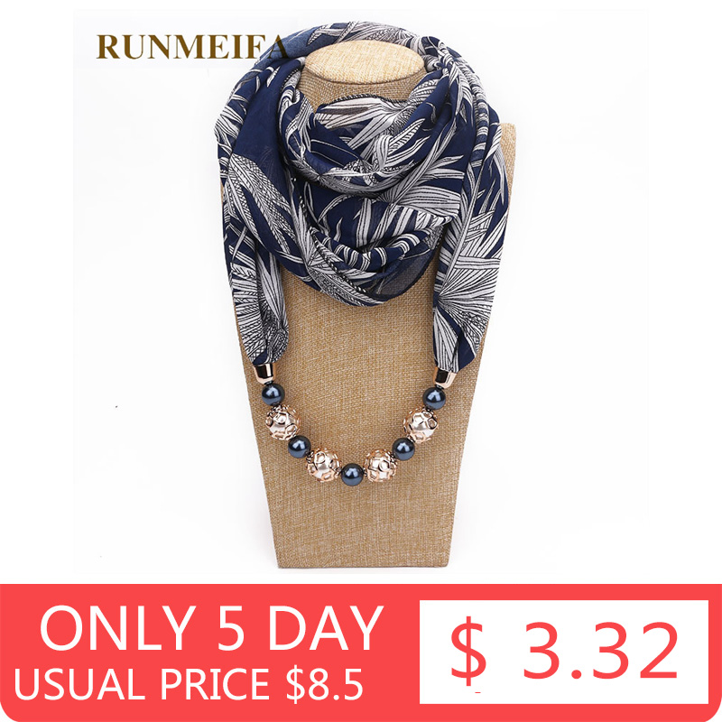 RUNMEIFA statement necklace Scarf for women Spring/Autumn Muslim Head Scarves Chiffon Scarf choker Clothing Accessories in Stock(China)